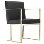 """Pangea Home - Gold Dexter Arm Chair, Black - Sleek and modern dining arm chair with wrap around gold toned steel metal; seat height is 18.5."""" Arm height is 26"""""""