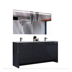 Bathroom Vanity Set With Mirror Double Sink Free Standing, Benna, Glossy Gray