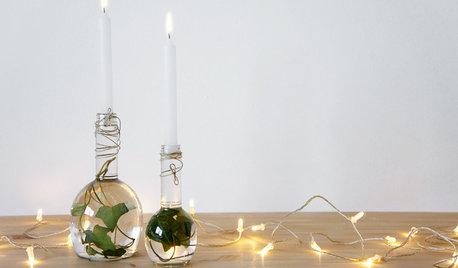 Hazlo tú mismo: Un centro navideño con velas y botellas