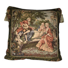Large Mediterranean Tapestry Pillow With Tassels and Feather Insert, Gold