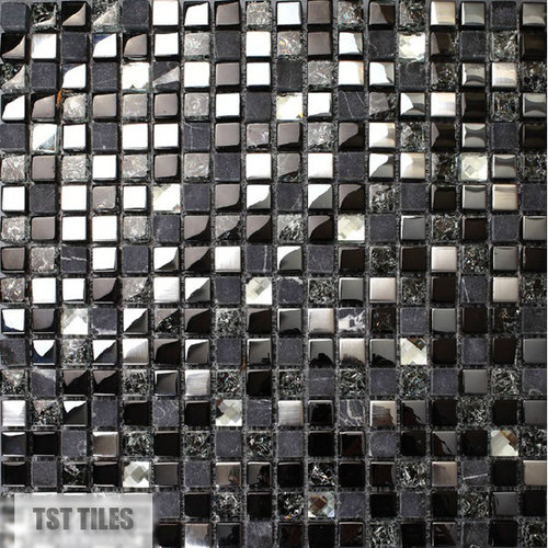 Black silver tile glitter stone inner crackle crystal ...
