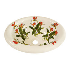 Bird of Paradise Hand Painted Sink, Biscuit