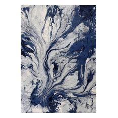 "Illusions 6201 Blue Watercolors Rug, 7'10""x10'10"""