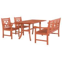 Malibu Outdoor 4-Piece Wood Patio Curvy Legs Table Dining Set