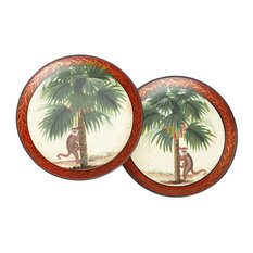Pair of Monkey In Palm Tree 10 Inch Decorative Plates