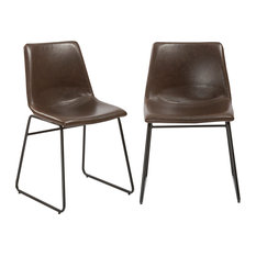 Btexpert   Btexpert Leather Upholstery Dining Chairs, Set Of 2, Brown  Rustic Style