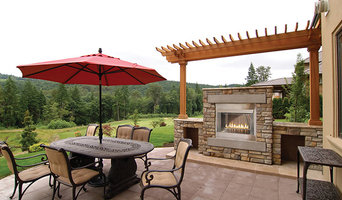 Scenic Backyard with Outdoor Stone Fireplace - White Mountain Hearth