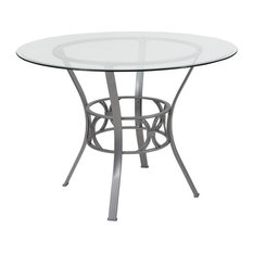 Flash Furniture Contemporary Clear And Silver Dining Table