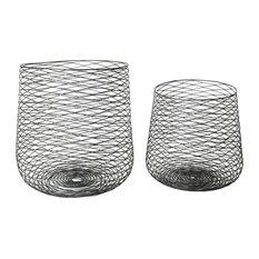 Retro Industrial Black Metal Wire Basket Set 2 | Storage Container Steel Mesh