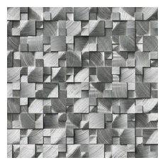 Silver Aluminum Brushed 3D Pattern, Misc, Mosaic,