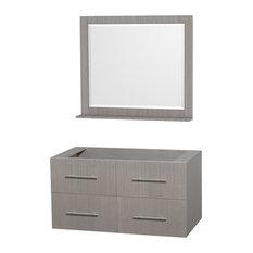 """Centra 42"""" Bathroom Vanity No Countertop No Sink, Grey Oak, 36"""" Mirror"""