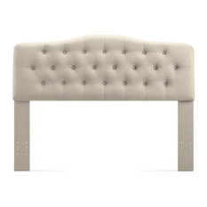 Elegant Headboard Tufted Linen Upholstery With Curved Top King Size Beige