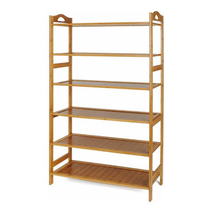 Contemporary Shoe Rack, Natural Bamboo Wood With MDF Board, 6 Tier