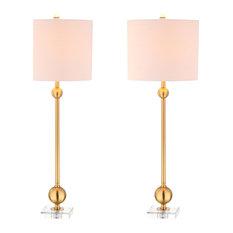 "Hollis 34"" Metal Table Lamp, Set of 2, Brass With Crystal Base"