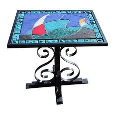 Betty Jean Wilcox - Raku-Fired Ceramic Tile Table, Sails and Seas Design -