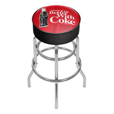 Coke Chrome Bar Stool With Swivel Coca-Cola Things Go Better With Coke