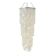 Round King Size Chandelier with Capiz Seashells, Natural White
