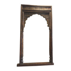 Mogulinterior - Consigned Arch Hand-Carved Headboard Welcome Gate - Wall Accents