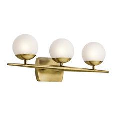 contemporary vanity lights. Kichler - Jasper 3-Light Bathroom Vanity Lights, Natural Brass Lighting Contemporary Lights