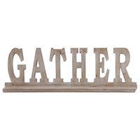 """Wood Alphabet Decor """"Gather"""" On Base Weathered Finish, Beige"""