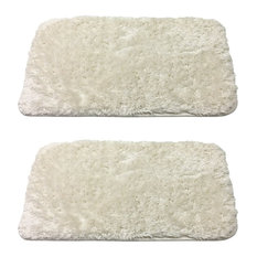 Lakeview Luxury Fuzzy Bath Rugs, Ivory, 2- Smaller Pieces