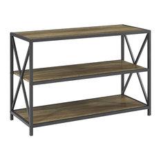 "40"" X-Frame Metal and Wood Media Bookshelf, Rustic Oak"