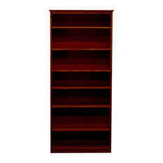 York Bookcase, 11_x37x84, Pine Wood, Antique Cherry