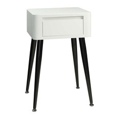 4D Concepts Black and White Side Table with Tall Legs