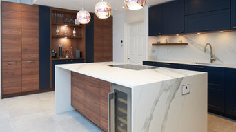 Midnight Blue Shaker and Nogero Wood Kitchen