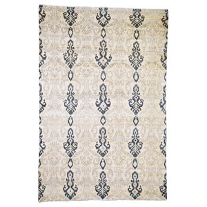 """Ikat Design Pure Wool Hand Knotted Oriental Rug, 5'10""""x8'7"""""""