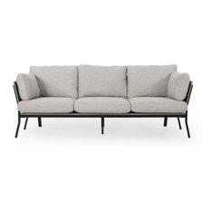 Maurice 3 Seater Wood Frame Sofa Light Gray Gray Black