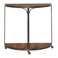 Half-Moon Wood And Metal Console Table With 3-Wheel Base 33.5-inchx30.5-inch
