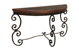 Artisan Home Cantabria Half Moon Sofa Table with Faux Leather Top
