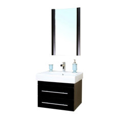 "Bellaterra 24.25"" Single Wall Mount Style Sink Vanity, Solid Wood, Black"