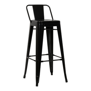 Industrial Bar Stool With Back Rest, Black