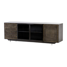 Industrial Aged Mesh Iron Tool Chest Media Console 83-inch