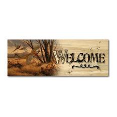 "Welcome Wall Art, Prairie Wings, 24""x8"""