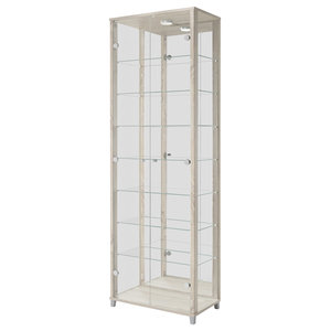 Vitrine Display Cabinet With LED, 2 Door, 7 Shelves, Oak