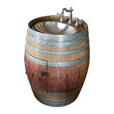 Natural Wine Barrel Vanity With Hammered Nickel Sink