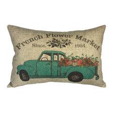 Floral Truck Linen Pillow