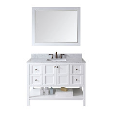 "Virtu USA Winterfell 48"" Single Bathroom Vanity With Marble Top, White"