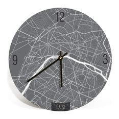ArtnWalls - PARIS MAP ART Wall Clock - Unique Contemporary Art Wall clock -  16
