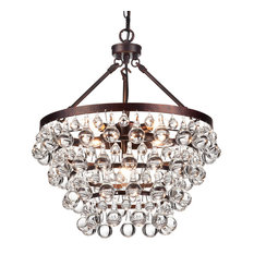 Clarus 5-Light Antique Copper Finish Four Tier Crystal Chandelier Glam Lighting
