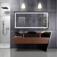 """Large LED Lighted Bathroom Mirror With Defogger and Dimmer, 60""""x30"""""""