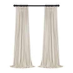 "Blackout Extra Wide Vintage Textured FauxDupioni Curtain, Off White, 100""x108"""