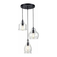 3 light glass linear island chandelier,black vintage pendant fixture