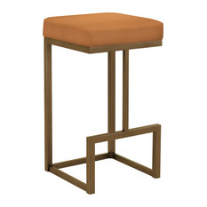"Brenda 30"" Bar Height Backless Barstool, Faux Leather, Copper Bisque"