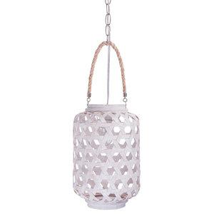 Handwoven Bamboo Lantern Pendant Lamp, Small, 1 Bulb, White Wash