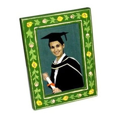 Ceramic Frame, Green With Yellow And Pink Flowers