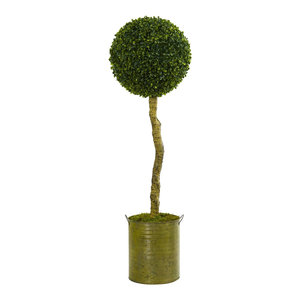 Artificial Tree -4 Foot Boxwood Ball Topiary Tree with Green Tin Planters